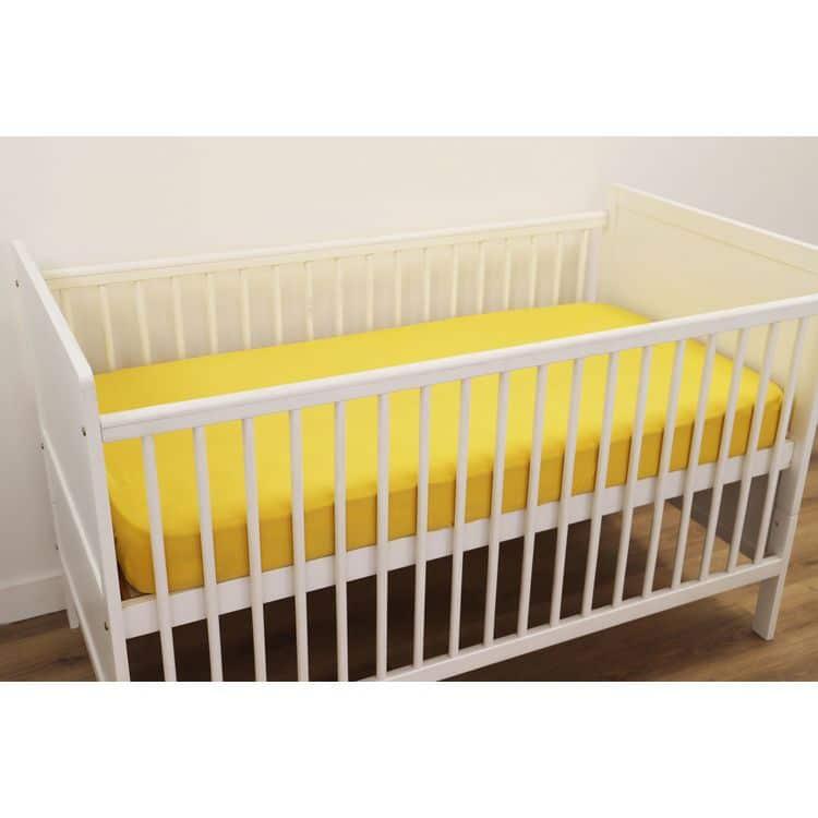 drap housse bébé coton jersey jaune