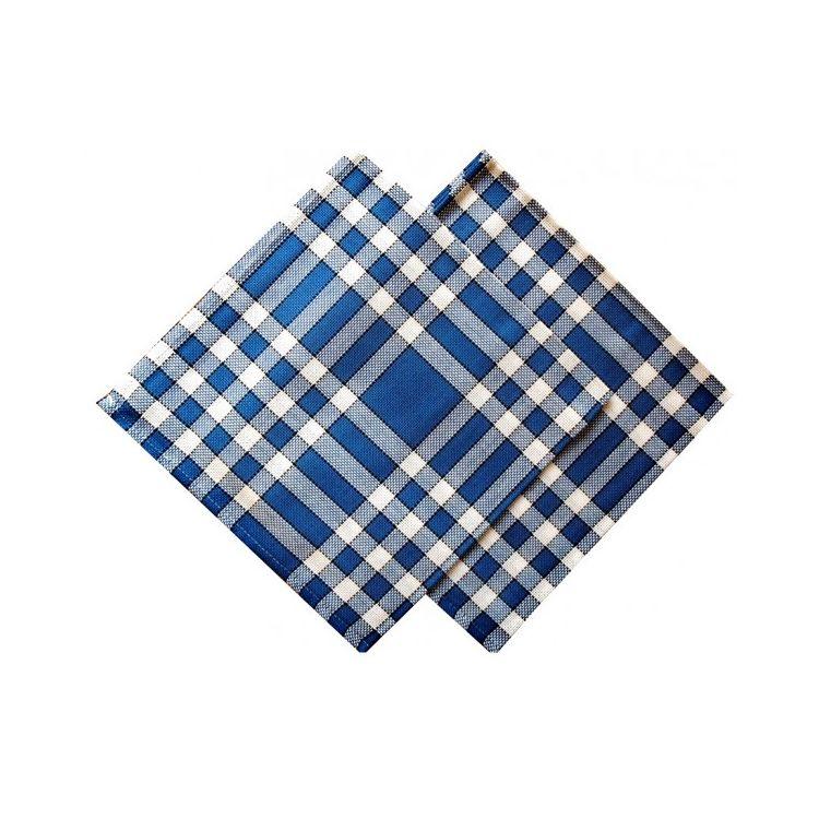 serviette de table carreaux bleus vichy normands linandelle