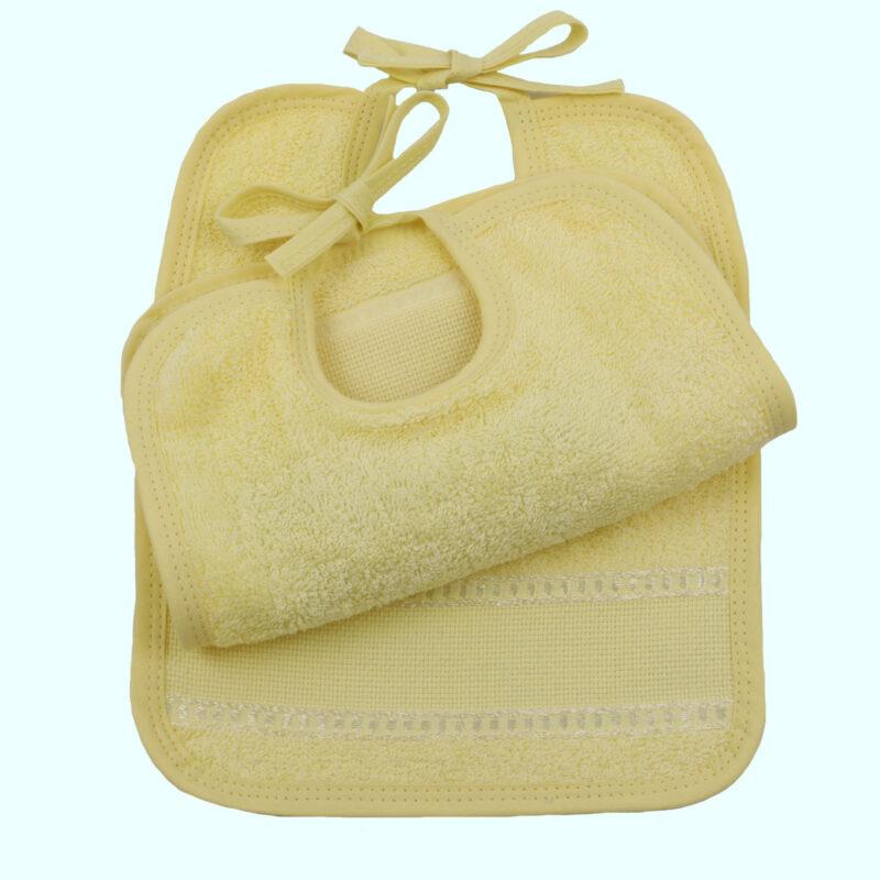 bavoir jaune a broder elastique