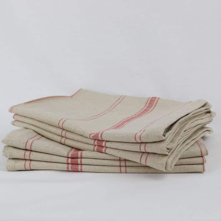 lot de torchons lin coton beige