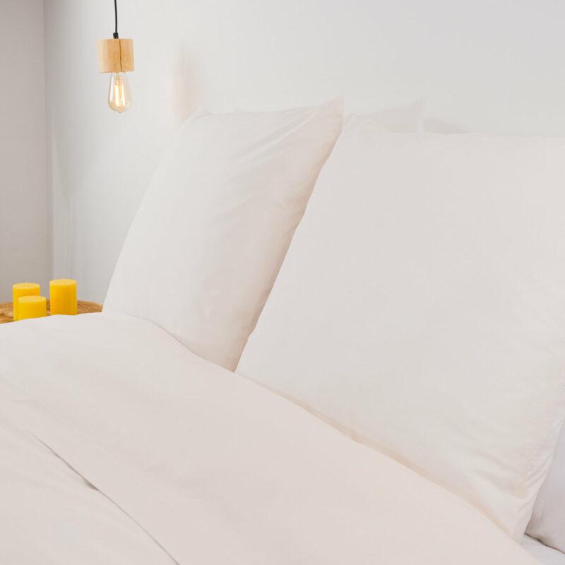 Drap plat polyester coton ivoire Linandelle