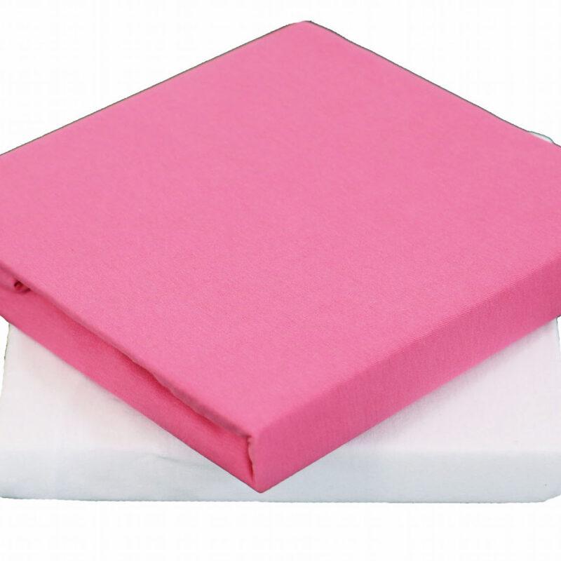 Drap housse bebe rose et blanc extensible Linandelle