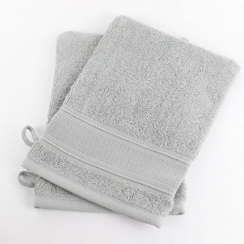 gant de toilette a broder aida gris Linandelle